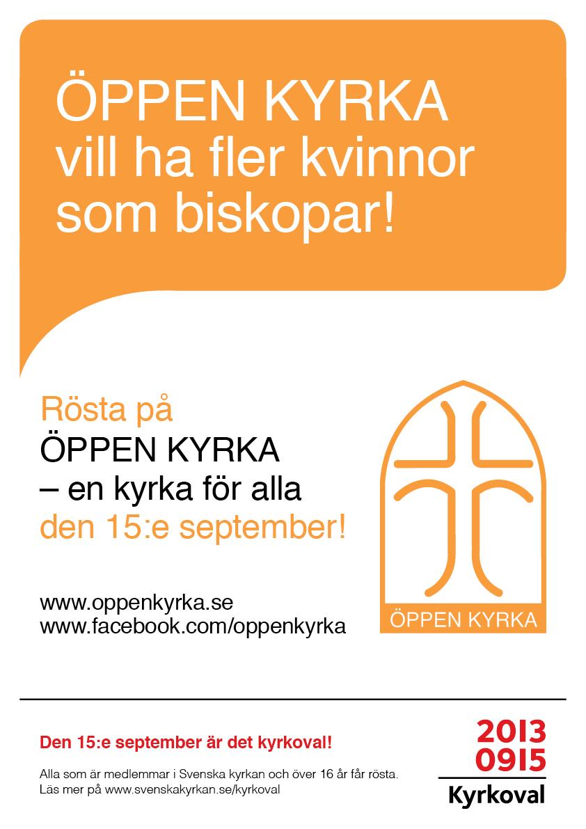 ÖPPEN KYRKA Valaffisch 2013 Kvinno-biskopar