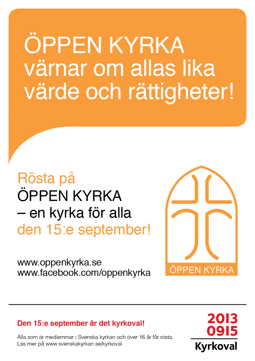 ÖPPEN KYRKA Valaffisch 2013 Lika värde
